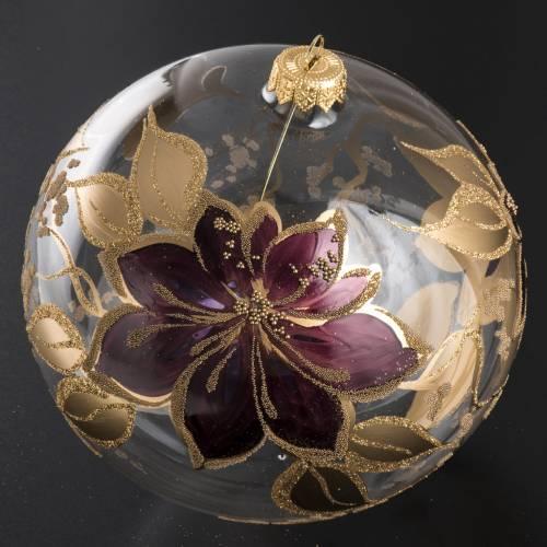 Boule de Noel fleurs fuchsia 15 cm s2