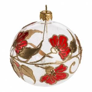 Boule de Noel fleurs rouges 8 cm s1