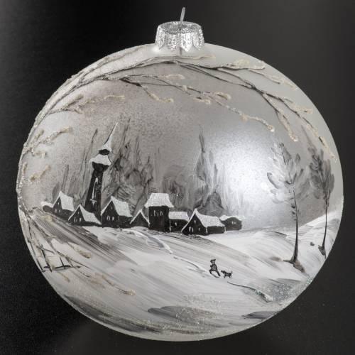 Boule de Noel paysage peint à la main 15 cm s2