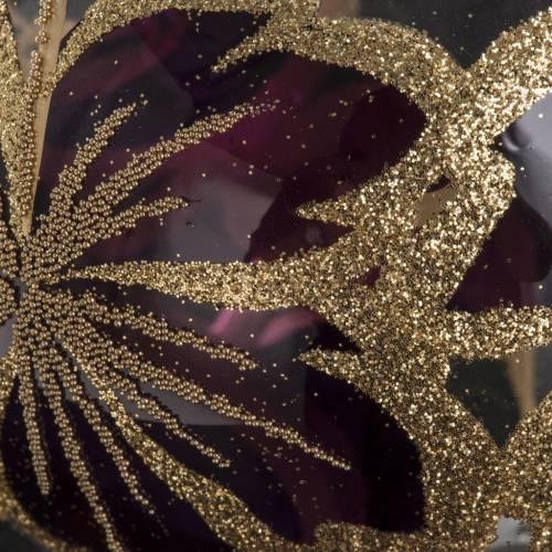 Boule de Noel transparente fleur fuchsia 10 cm s3