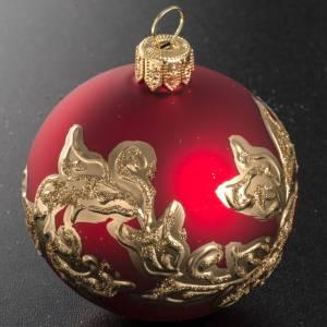 Boule de Noel verre rouge peinte à la main 6 cm s2