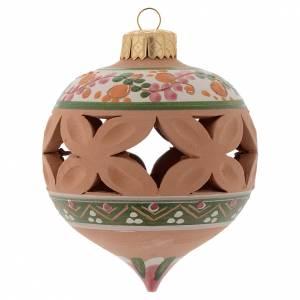 Décorations sapin bois et pvc: Boule en pointe de Noël 80 mm rouge