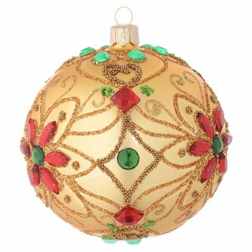 Boule Noël en verre soufflé décor florale or et rouge 100 mm s2
