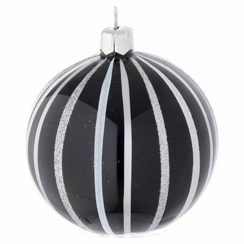 Boule Noël verre noir rayures argent 80 mm s2
