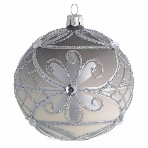 Boule Noël verre soufflé mat argent 100 mm s1
