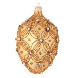 Boule sapin Noël ovale or décor en relief 130 mm s1
