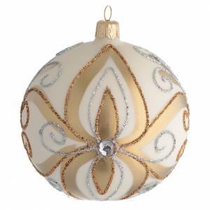 Boule sapin Noël verre or argent ivoire 100 mm s1