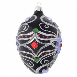 Boule sapin ovale en verre décor florale noir et argent 130 mm s2