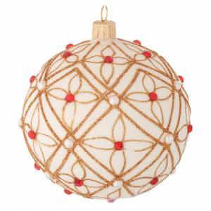 Boule verre soufflé ivoire décor or et rouge 100 mm s2