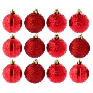Décorations sapin bois et pvc: Boules Sapin Noël 60 mm rouges
