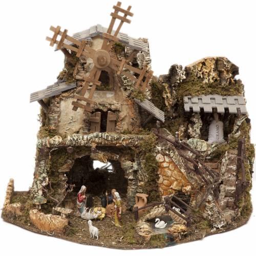 Bourg crèche avec lumières, grotte et moulin 50x58x38 cm s1