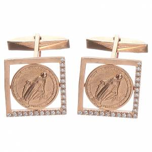 Boutons pour manchettes arg 800 rosé Vierge Miraculeuse 1,7x1,7 cm s3