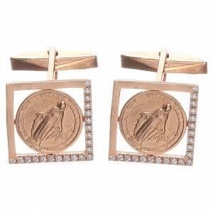 Boutons de manchette religieux: Boutons pour manchettes arg 800 rosé Vierge Miraculeuse 1,7x1,7 cm