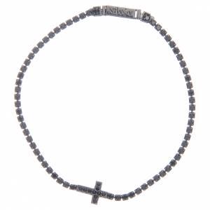 Bracciale Amen croce e zirconi nero argento s1