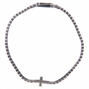 Bracciale Amen croce e zirconi nero argento s2