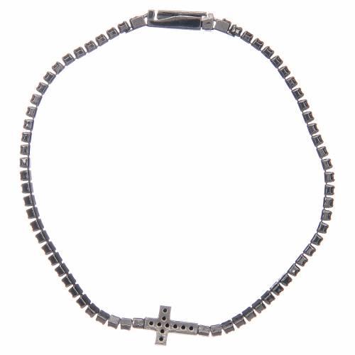 Bracciale Amen croce e zirconi nero argento 2