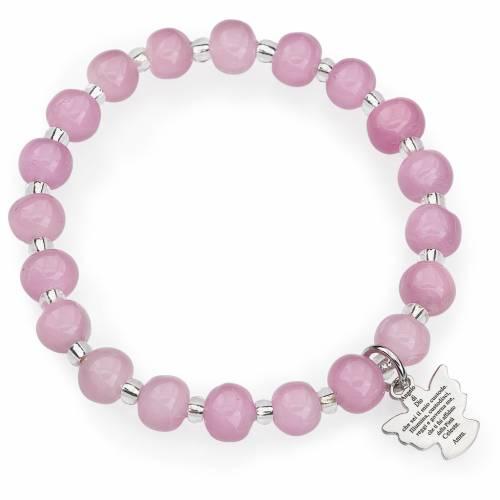 Bracciale AMEN per bambini perle Murano rosa arg 925 s1