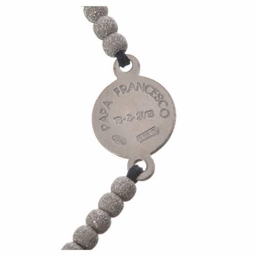 Bracciale corda nera medaglia arg 800 Papa Francesco s3