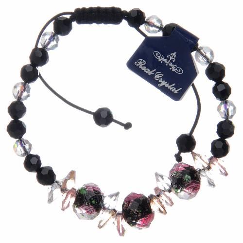 Bracciale cordoncino con grani cristallo con rose nero s2