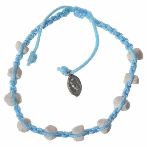 Bracciale decina Medjugorje pietra corda azzurra s1