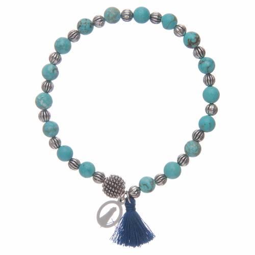 Bracciale elastico con grani in pietra turchese e Madonna Loreto s2