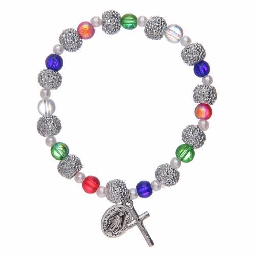 Bracciale elastico con grani in vetro multicolore e strass s1