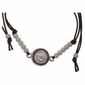 Bracciali in argento: Bracciale Papa Francesco corda nera argento 800