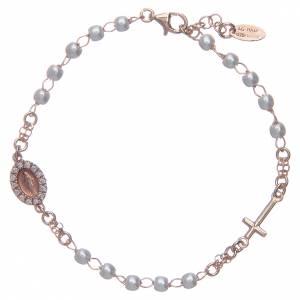 Bracciale rosario AMEN Miracolosa Pavè perle arg 925 fin. Rosè s1
