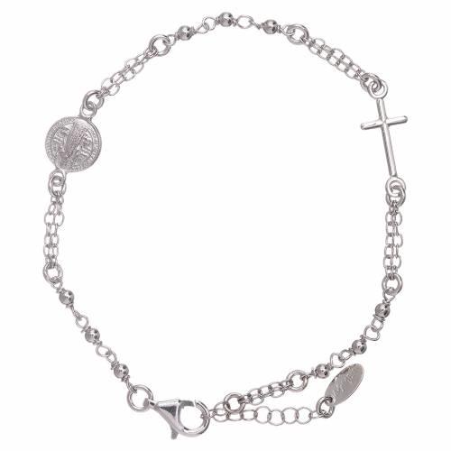 Bracciale rosario AMEN San Benedetto argento 925 rodio s1