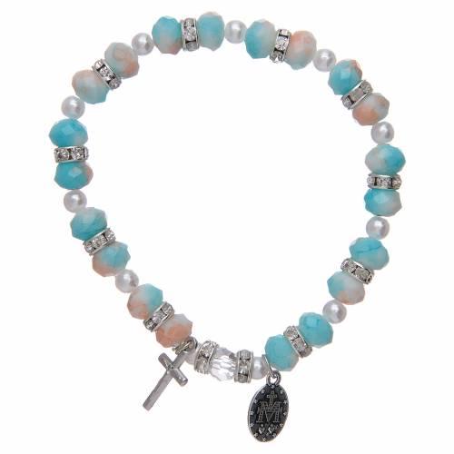 Bracciale rosario con grani in vetro 6x8 mm 2