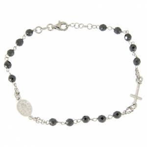 Bracciale rosario grani 4,7 mm ematite e catenina argento s2