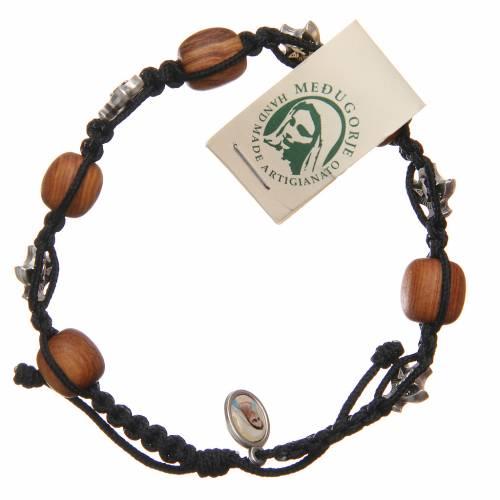 Braccialetto Medjugorje corda nera grani legno ulivo s1