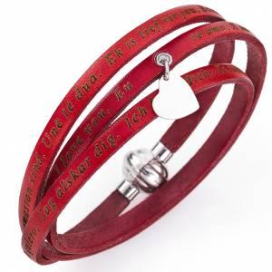 Bracelet Amen Je t'aime avec pendentif rouge s1