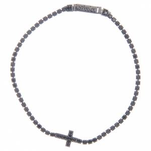 Gold and silver bracelets: Bracelet Amen with cross and black zircons