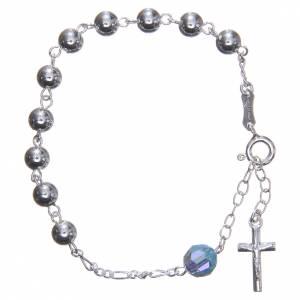 Bracelet argent 800 6 mm pater Swarovski bleu ciel s1