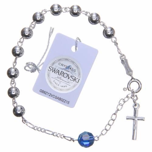 Bracelet argent 800 6 mm pater Swarovski bleu clair s2