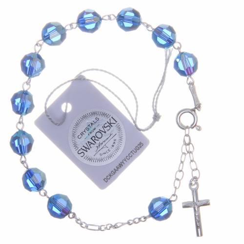 Bracelet argent 800 cristaux Swarovski 8 mm bleu clair s2
