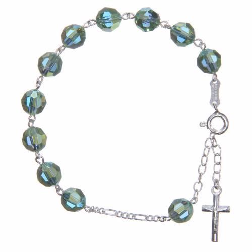 Bracelet argent 800 cristaux Swarovski 8 mm vert s1
