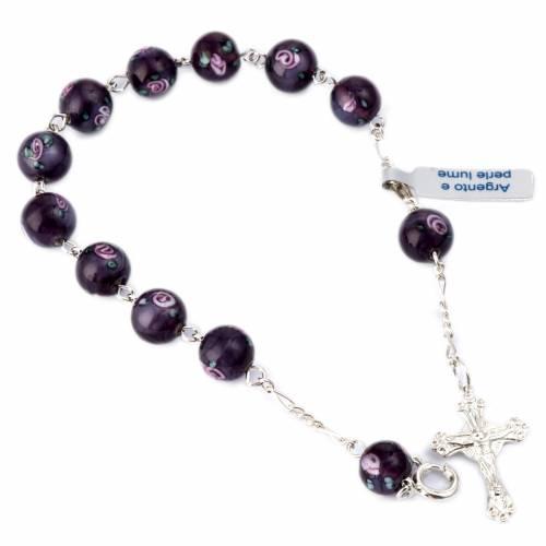 Bracelet argent 800 perles millefiori 8 mm s1