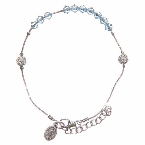 Bracelet argent 925 et Swarovski avec grains bleu ciel s1