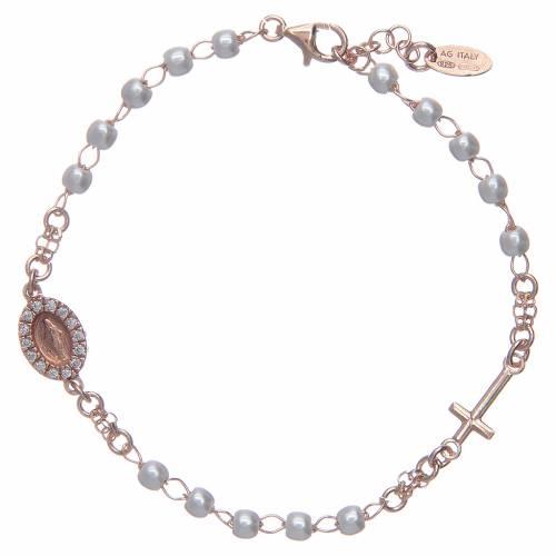 Bracelet chapelet AMEN Miraculeuse perles argent 925 fin. rosée s1