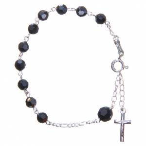 Bracelet chapelet cristaux Swarovski 6 mm noirs s1