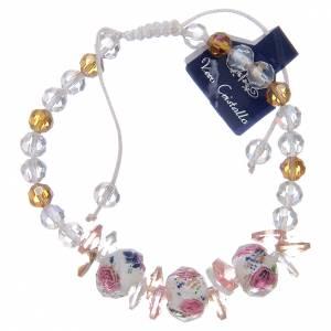 Bracelet corde avec grains en cristal avec roses blanc s2