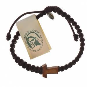 Bracelet corde Medjugorje croix olivier différents coloris s5