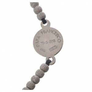 Bracelet corde noire médaille argent 800 Pape François s3