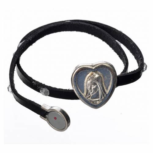 Bracelet cuir noir et Swarovski image Vierge Marie s2