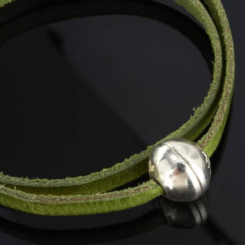 Bracelet en cuir Medjugorje sphère long. 39 cm s7