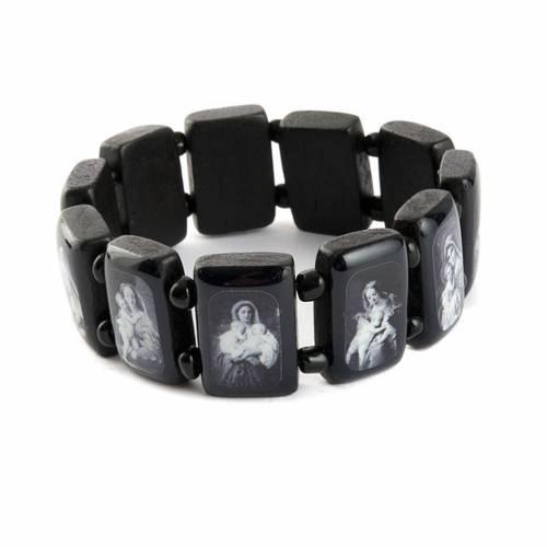 Bracelet images pieuses Vierge Jésus Saints, noir s4