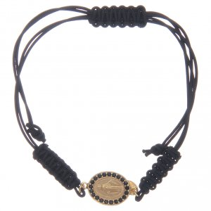 Silver bracelets: Bracelet in 925 sterling silver with black zircons gold Miraculous
