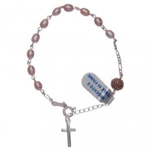 Silver bracelets: Bracelet in 925 sterling silver with pink river pearls